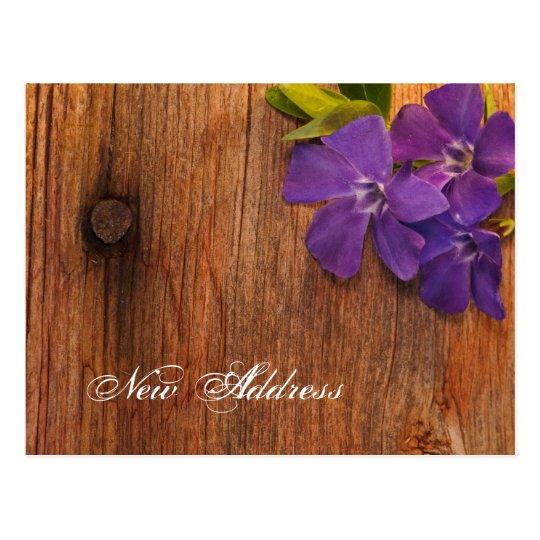 Purple Periwinkle and Barn Wood New Address Postcard