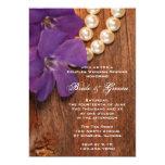 Purple Periwinkle Barn Wood Couples Wedding Shower 5x7 Paper Invitation Card