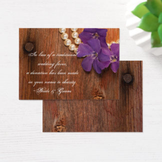 Purple Periwinkle Barn Wood Wedding Charity Favor Business Card