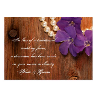 Purple Periwinkle Barn Wood Wedding Charity Favor Large Business Card