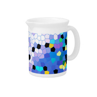 Purple Periwinkle Blue & Black Mosaic Pattern Beverage Pitcher