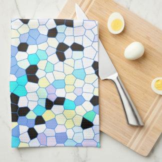 Purple Periwinkle Blue & Black Mosaic Pattern Hand Towels