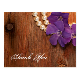 Purple Periwinkle, Pearls and Barn Wood Thank You Postcard