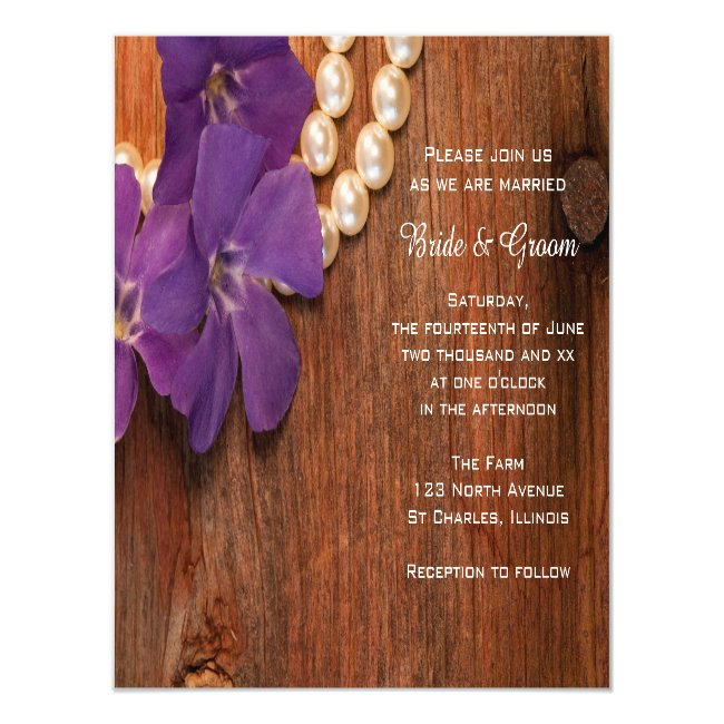 Purple Periwinkle Pearls Barn Wood Country Wedding Magnetic Invitation