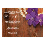 Purple Periwinkle, Pearls Barn Wood Couples Shower 5x7 Paper Invitation Card