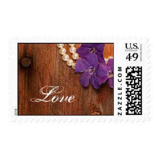 Purple Periwinkle, Pearls Barn Wood Love Wedding Stamp