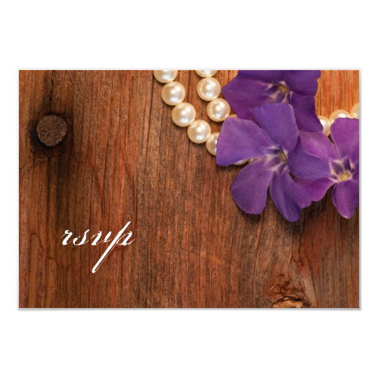 Purple Periwinkle, Pearls Barn Wood Wedding RSVP Card