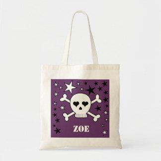 Purple Personalizable Cute Crossbone Skull & Stars Tote Bag