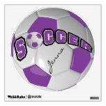 Purple Personalize Soccer Ball Room Sticker