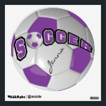 """Purple Personalize Soccer Ball Wall Decal<br><div class=""""desc"""">Soccer Ball Sport Wall Decal featured in a purple and white soccer ball with diy text. 100% Customizable. Ready to Fill in the box(es) or Click on the CUSTOMIZE button to add, move, delete or change any of the text or graphics. Made with high resolution vector and/or digital graphics for...</div>"""
