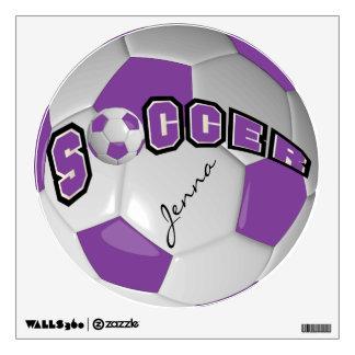Purple Personalize Soccer Ball Wall Skin