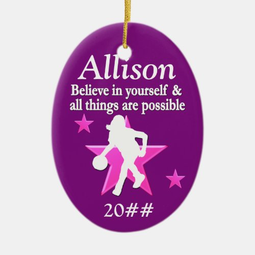 PURPLE PERSONALIZED BASKETBALL HOLIDAY ORNAMENT