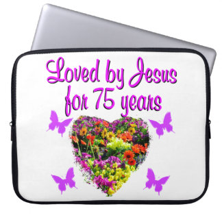 PURPLE PERSONALIZED FLORAL 75TH BIRTHDAY DESIGN LAPTOP SLEEVE