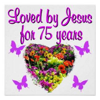 PURPLE PERSONALIZED FLORAL 75TH BIRTHDAY DESIGN POSTER
