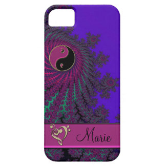 Purple Personalized Fractal Yin-Yang Music Heart iPhone 5 Cases