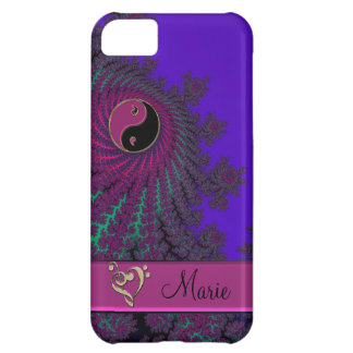 Purple Personalized Fractal Yin-Yang Music Heart Cover For iPhone 5C