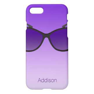 Purple Personalized iPhone 7 Cases With Sunglasses
