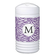 Purple Personalized Monogram Zebra Stripes Cooler