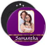 Purple personalized photo 6 inch round button