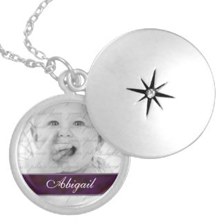 Purple Personalized Photo Locket Necklace