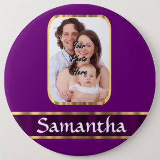 Purple personalized photo pinback button