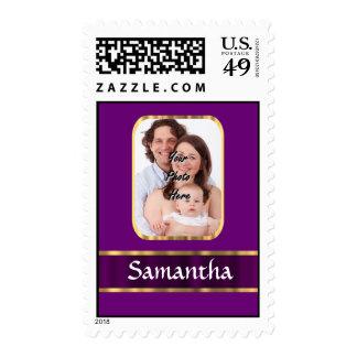 Purple personalized photo stamp