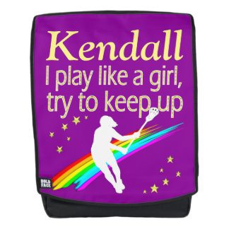 PURPLE PERSONALIZED PLAY LIKE A GIRL LACROSSE BACKPACK
