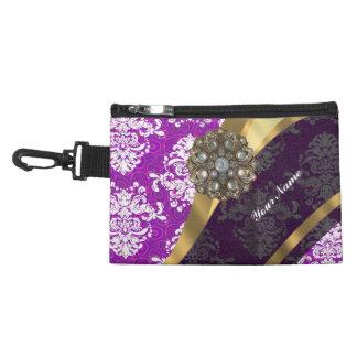 Purple personalized pretty damask pattern accessory bag