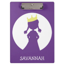 Purple Personalized Princess Silhouette Fairy Tale Clipboard
