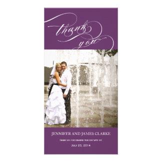 Purple Personalized Script Photo Wedding Thank You Card