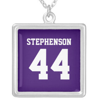 Purple Personalized Sports Name Number Pendant