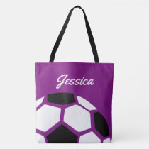 Purple Personalized Trendy Stylish Soccer Ball Tote Bag