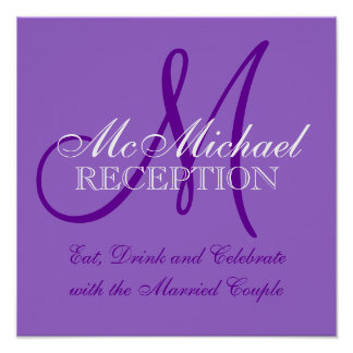 Purple Personalized Wedding Reception Sign Poster