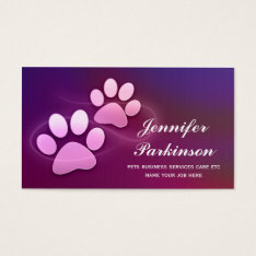 Purple Pet Paws Business Cards at Zazzle