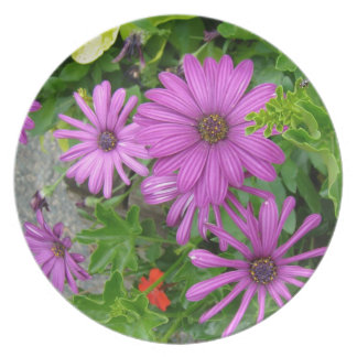 Purple petals amongst the greenery party plates