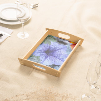 Purple Petunia and Artemesia Serving Tray -Blk