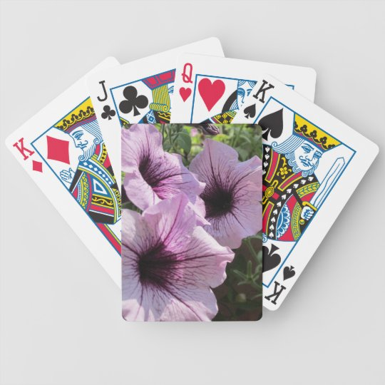 Purple Petunia Bicycle Playing Cards