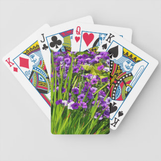 Purple petunia floral print bicycle playing cards
