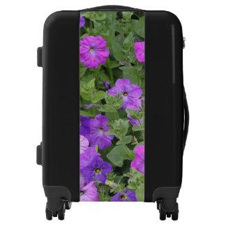 Purple Petunia Flowers Floral Garden Leafy Black Luggage