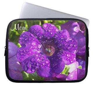 "Purple Petunia Garden ""Mom"" Laptop Sleeve"