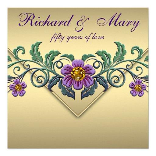 Purple Petunia Gold 50th Wedding Anniversary Personalized Invitation