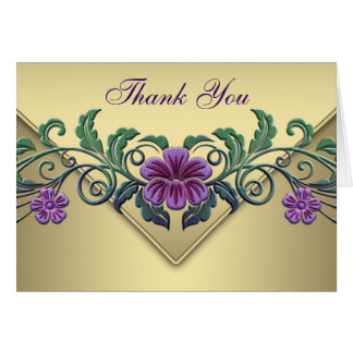Purple Petunia Gold Thank You Cards