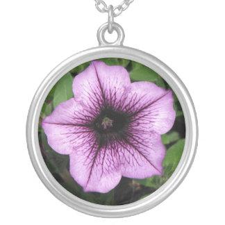 Purple Petunia Round Pendant Necklace