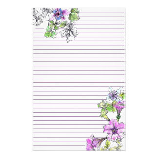 Purple Petunia Watercolor Flowers Lilac Lined Stationery