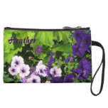 Purple Petunias Clutch Wristlet bags