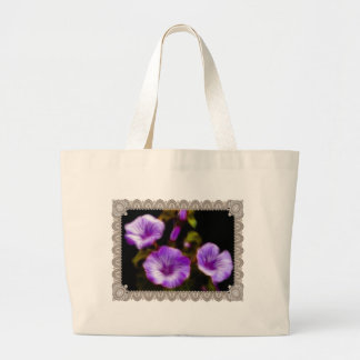 Purple Petunias in Lace Frame Tote Bag