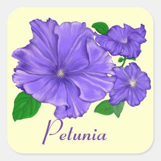 Purple Petunias Square Sticker