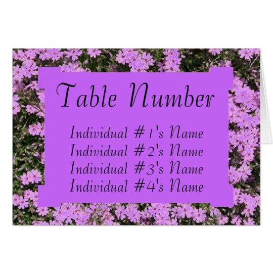 Purple Phlox Wedding Table Place Card Template