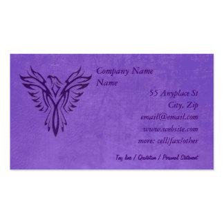 Purple Phoenix Rising, leather texture effect Business Card