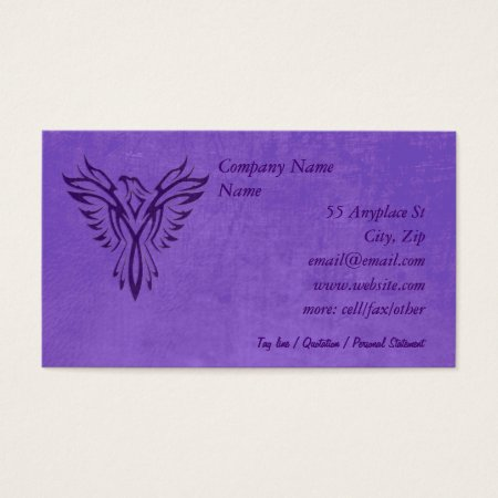 Purple Phoenix Rising, leather texture effect Business Card